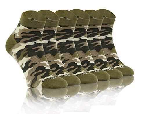 Sesto Senso Lustige Bunte Kurze Socken 3 Pack Süße Sneakersocken Baumwolle Tarnung Tarnsocken Tarnmuster Tarnfarben Camouflage 43-46 3 Camo