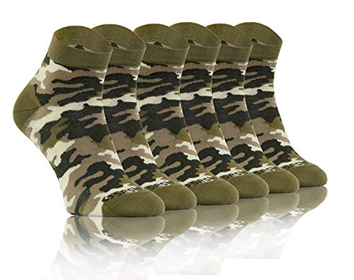 Sesto Senso Lustige Bunte Kurze Socken 3 Pack Süße Sneakersocken Baumwolle Tarnung Tarnsocken Tarnmuster Tarnfarben Camouflage 39-42 3 Camo