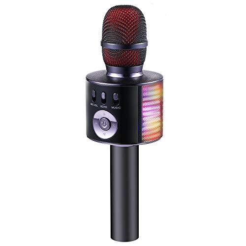Fede Micrófono Karaoke Bluetooth Infantil, Micrófono Inalámbrico Karaoke Portátil con luz LED Multicolor, Mejores Regalos Juguetes para Niños, Niñas y Adultos
