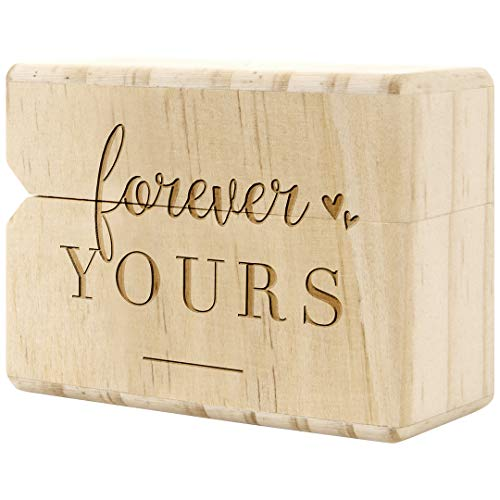 Koyal Wholesale Engraved Real Wood Slim Ring Box, Wedding Engagement Proposal Ring Box, Discreet Thin Ring Box With Hinge (Forever Yours)