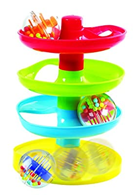 PlayGo Super Spiral Tower Ball Drop & Roll Activity Toy Four Colorful Ramps & Three Rattling Balls Promote Fine Motor Skills for Kids