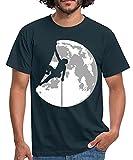 Spreadshirt Escalade Grimpeur Au Clair De Lune T-Shirt Homme, M, Marine