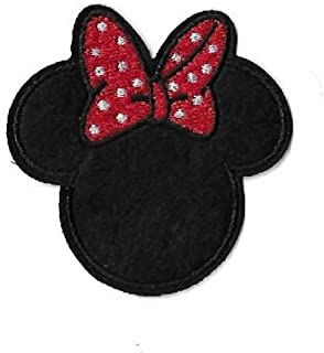 Iron On Embroidered Patch Top Quality Minnie Mouse Disney Red & White Bow 2-1/2