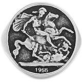 Steve Madden Oxidized Stainless Steel Old Greek Coin Stallion Warrior Ring for Men (Size 9)