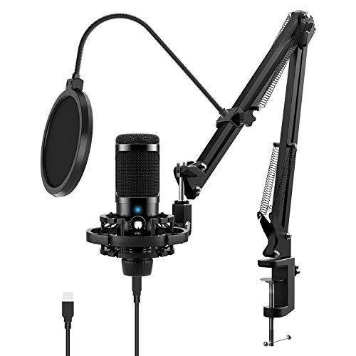 USB Microphone Kit for Computer, JEEMAK Professional Condenser Microphone Set with Adjustable Mic Arm Stand Shock Mount for Gaming Studio Podcast Recording YouTube Video Steaming
