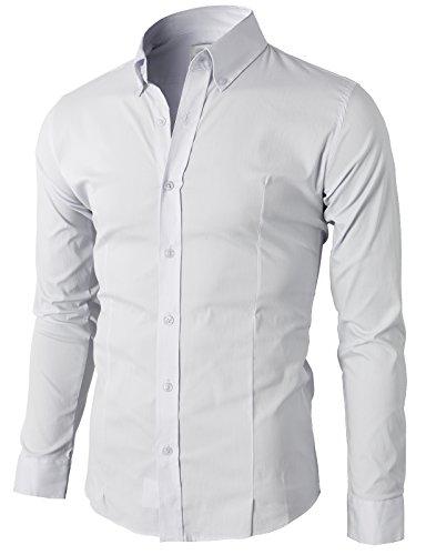 H2H Men's Slim Fit Long Sleeve Dress Shirt of Multiple Colors White US L/Asia 3XL (KMTSTL0489)