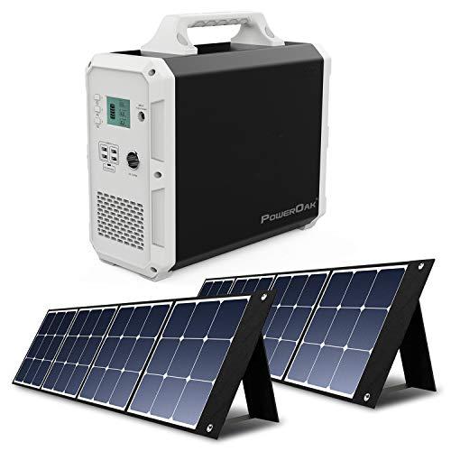PowerOak Bluetti EB150 1500Wh Generador Solar Portátil con 2 Piezas Paneles Solares 120W, Generador Electrico con Salidas AC/DC/USB Power Station con Batería de Litio para Camping Autocaravana
