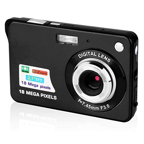 Digitalkamera, CamKing 2,7 Zoll Digitalkamera,Mini FHD 1080p Videokamera Taschenkameras Digita Kamera für Rucksacktouren,Kompaktkameras für Fotografie(Schwarz)