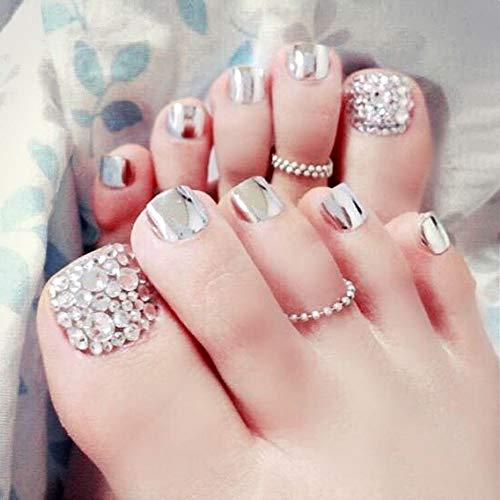 Bodhi2000-24 uñas postizas para dedos de los pies con purpurina artificial