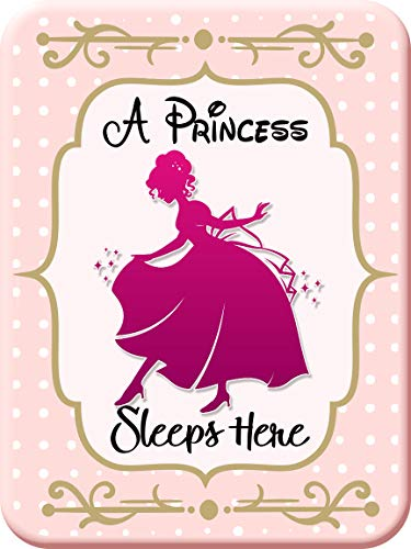 Creative Splash A Princess Sleeps Here | 9 x 12 inch Rigid PVC Sign | Predrilled Hole for Easy Installation | for Girl's Room, Fort, Palace, Castle