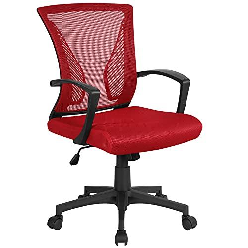 Yaheetech Bürostuhl ergonomischer Schreibtischstuhl Drehstuhl Chefsessel Sportsitz Mesh Netz Stuhl höhenverstellbar Wippfunktion Rot