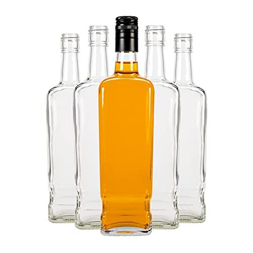 SUPERBUTELKI.PL Juego de botellas Walker, botellas de cristal vacías para rellenar, botellas decorativas, elegantes y modernas, vidrio de alta calidad, botellas de cristal (5, 700 ml)
