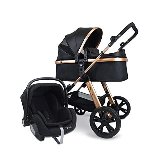 Pixini Cochecito de bebé (Arizona 3 en 1, incluye capazo, cochecito y sillita de coche – Marco de aluminio – con paquete de accesorios en dorado/negro)