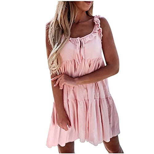 Sommerkleid Damen Kurz Strandkleid Einfarbig Sexy Kurz Boho Kleidung Damen äRmellos Kleid Mini Blusenkleider Freizeitkleid