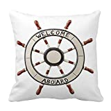 perfecone Home Improvement Cotton Pillowcase Double Summer Beach Nautical Ship Steering Wheel Sofa and car Pillow case 1 Pack 21.7 x 21.7 inches/55 cm x 55 cm