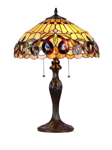 "Chloe Lighting CH33353VR16-TL2 Serenity Tiffany-Style Victorian 2-Light Table Lamp with Shade, 22.4 x 15.7 x 15.7"", Brown/Yellow"