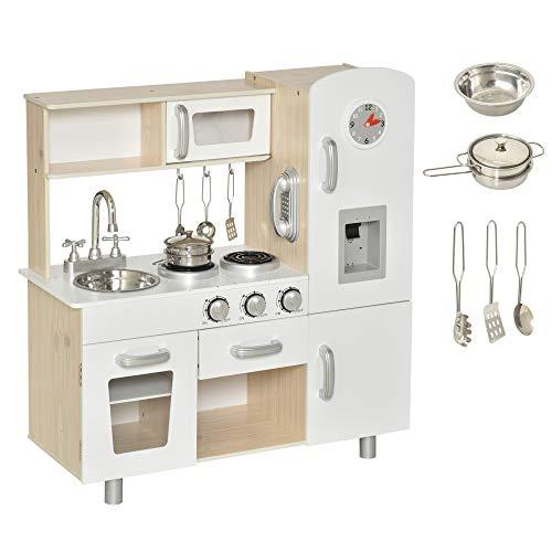 HOMCOM Cocina de Juguete con Fregadero Cocina de Inducción y Microondas Simulados con Accesorios Incluidos Cocina Infantil para +3 Años 77x30x82 cm Blanco