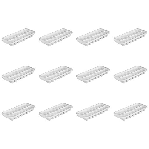 Sterilite 72408012 Stacking Ice Cube Tray, White, 12-Pack