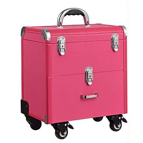 Caja de maquillaje profesional, caja de cosmética con ruedas, bolso de cosméticos...