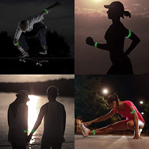 EasyULT 4 Pieza Banda Reflectante, Brazalete LED Running, Alta Visibilidad y Ajustable Brazalete Reflectante, Luces LED Intermitentes para Correr, Practicar Senderismo o Ciclismo-Verde