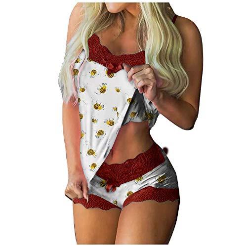 Damen Schlafanzug Set Pajama PJ Set Kurzarm Shirt Lang Schlafhose...