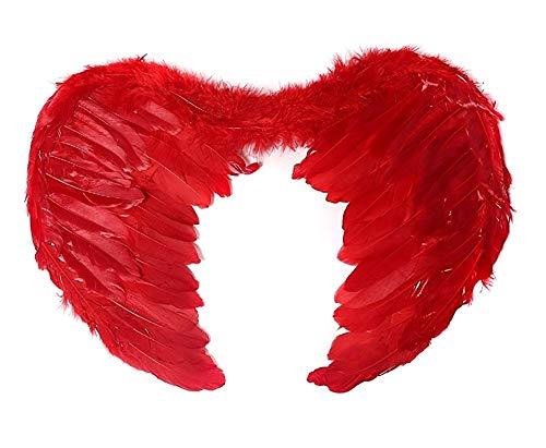 Ali di Angelo Piumate di colore rosso Accessorio Idea Travestimento