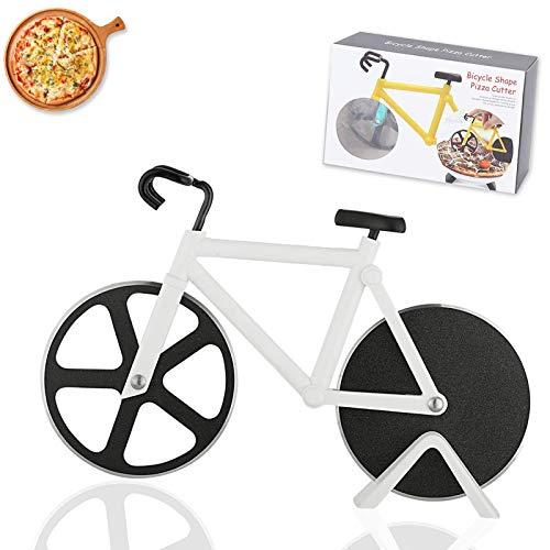 Bicicleta Cortapizzas,Cortador pizza bicicleta acero inoxidable,Antiadherente Cortapizzas,con Soporte,apto para hogar y cocina,Perfecto Para Regalos Creativos (blanco)