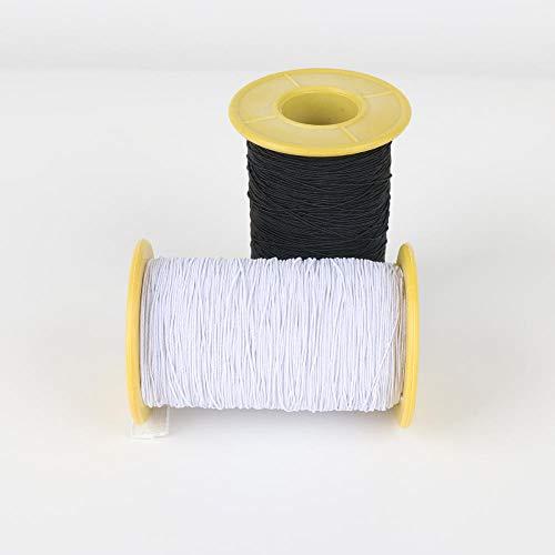 Aiyow Elastische elastische lijn 0,5 mm fijne rubberen band ronde elastische band elastische lijn kledingaccessoires masker DIY.1 zwart en wit