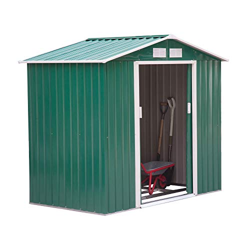 Outsunny Lockable Garden Shed Large Patio Roofed Tool Metal Storage Building Foundation Sheds Box Outdoor Furniture (7ft x 4ft, Green)