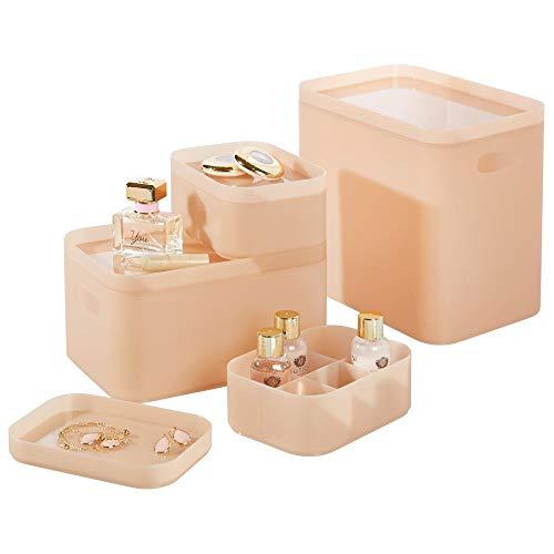 mDesign Juego de 4 organizadores de baño – Cajas para maquillaje redondeadas para almacenamiento de cosméticos – Cajas de plástico apilables con tapa para perfumes o joyas – rosa