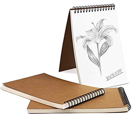 Cuaderno de Dibujo en Espiral A5, Pack de 3 Cuaderno de Bocetos Bloc de Notas en Blanco de Papel Kraft, 100 Páginas / 50 Hojas - Perfecto para Viajar Dibujo Artístico (Marrón)