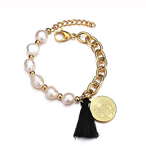 LQHXY Colgante Cristiano De Jesús Bohemian Style Black Tassel Pearl Brazalete De Mujer
