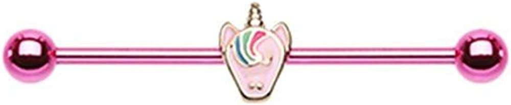 Covet Jewelry Pastel Unicorn Swirl Industrial Barbell