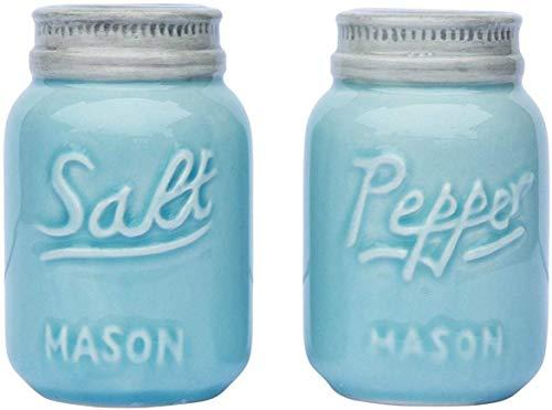 Comfify Salero & Pimentero Vintage Decoración Adorable del Tarro para el Look Vintage, rústico, Chic - Cerámica Robusta en Azul Marino - 3.5 oz. De Capacidad.
