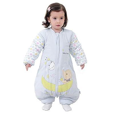 Kylewo Saco de Dormir de Invierno para bebé 3.5 TOG Saco de Dormir de Invierno de Manga Larga con Forro cálido de Invierno con pies, Pijama de Mono Unisex para niña