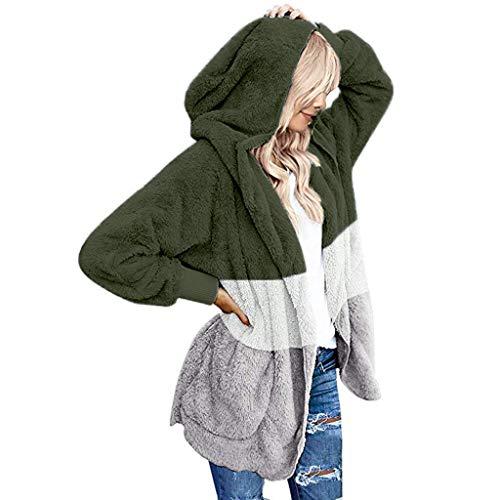 WUAI-Women Oversized Fuzzy Fleece Open Front Hooded Cardigans Sherpa Jacket Outwear(Army Green,Medium)