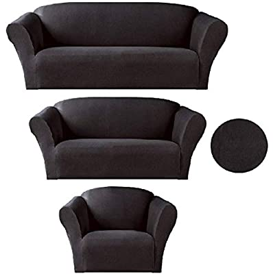 Sapphire Home 3-Piece SlipCover Set for Sofa Loveseat Couch Arm Chair, Form fit Stretch, Wrinkle Free, Furniture Protector Cover for 3/2/1 Cushion, Polyester Spandex,3pc Slipcover