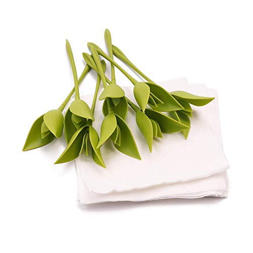 Qingb Servilletas de Tela Servilleta de Flores de Origami Toalla de Papel Rosa Herramienta de Flores Rollo Plato de Flores Cena de hogar Servilleta Floral, 1 Piezas