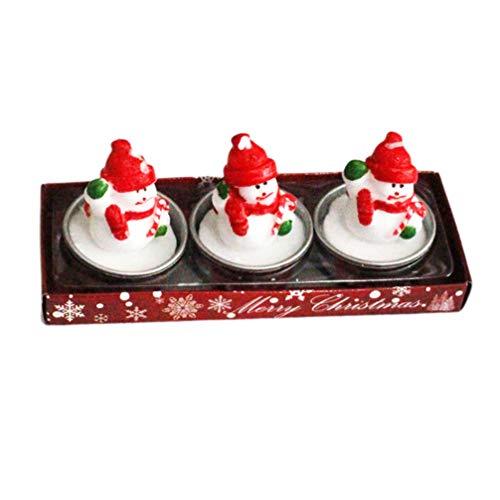 Amosfun 3pcs Navidad Velas Lindo de Dibujos Animados de Navidad Velas de té para la celebración de Las Fiestas decoración del Partido Banquete de Bodas en casa
