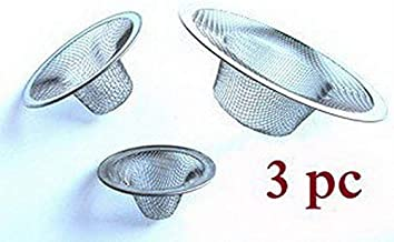 Lukzer 3 PCs Stainless Steel Mesh Sink Filter Wash Basin Drain Strainer Waste Food Blockages Cleaning Tool for Kitchen and Bathroom/Hair Catcher