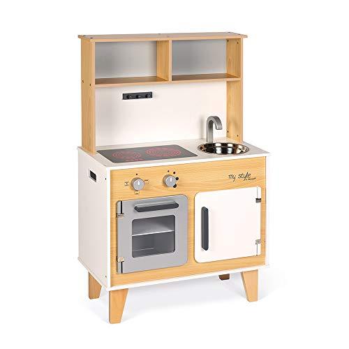 Janod- Gran Cocina My Style Personalizable Con Pegatinas, Color blanco/madera (Juratoys J06559)