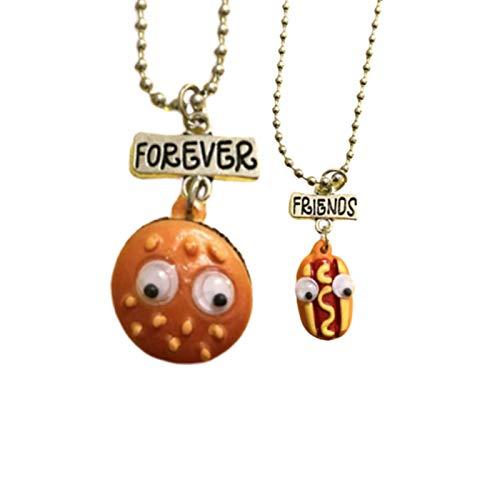 Fiauli Kreative Halskette mit Cartoon-Mini-Kekse, Kaffee, Hamburger, Pommes, Milchkekse, Halskette, leicht, elegant, Modeschmuck, Geschenk für Partys, Legierung,