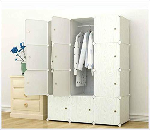 FTFTO Haushaltsprodukte Tragbarer Kleiderschrank Aufbewahrungsschrank DIY Tragbarer Kleiderschrank Kleiderschrank Modularer Aufbewahrungsorganisator Platzsparender, tieferer Würfel mit Hängestange