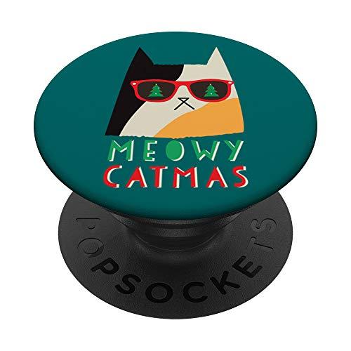 Meowy Catmas Cat PopSockets PopGrip Intercambiable