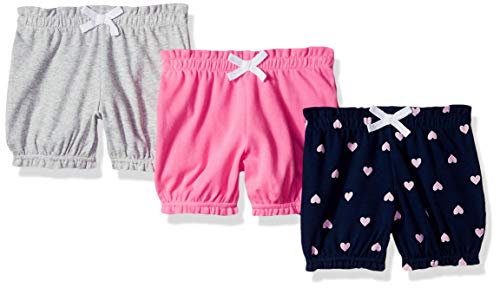 Amazon Essentials - Pack de 3 pantalones bombacho para niña, Pink/Blue Heart, Bebé prematuro
