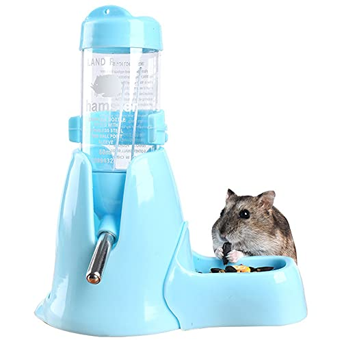 ハリネズミ ハムスター リス 水飲み器 自動給水器 食器 ボトル ホルダー 水漏れ防止 便利 取り付け簡単 多機能 小動物 ペット ウサギ ウォーターボトル 飼育ケージ内装 小動物の隠れ家 (ブルーの台座+125mlボトル)