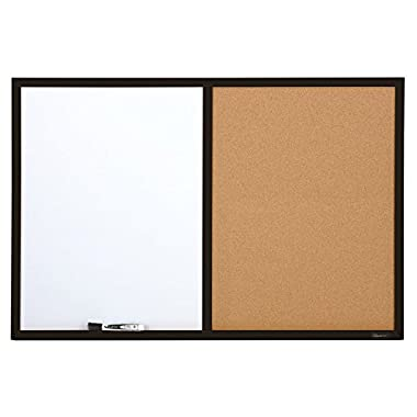 Quartet Dry Erase Board & Cork Board Combination, 2 x 3 Feet, Whiteboard & Corkboard, Black Frame (95223B)