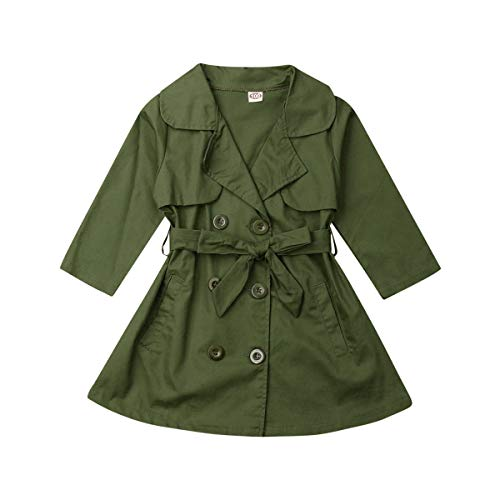 Toddler Girls Lightweight Trench Coat Double Breasted Kids Outerwear Jackets Dress Coats (Green, 5-6T)