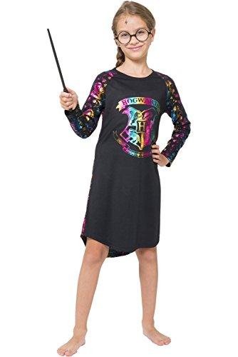 Harry Potter Big Girls' Hermione Granger 'Hogwarts Crest Magic Rainbow' Costume Pajama Nightgown, Black, 14/16
