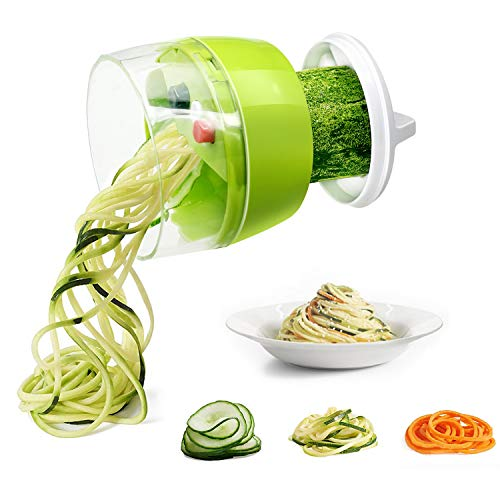 Spiralizer Vegetable Chopper, Fun Life Hand Held 4 in 1 Vegetable Spiralizer Slicer Food Chopper Cutter Zucchini Noodle & Veggie Pasta & Spaghetti Maker for Low Carb/Paleo/Gluten